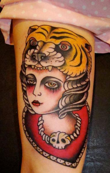 Old School Bein Frauen Tiger Tattoo von Seven Devils