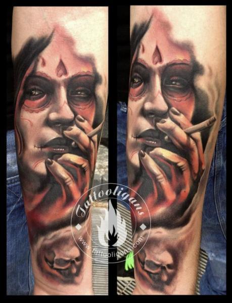 Arm Fantasy Skull Women Tattoo by Tattoo Ligans