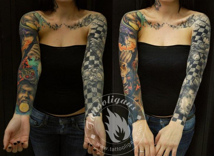 Arm Sleeve Tattoo by Tattoo Ligans