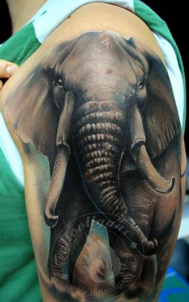 Shoulder Realistic Elephant Tattoo by Tattoo Ligans