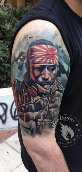 Shoulder Realistic Warrior Tattoo by Tattoo Ligans
