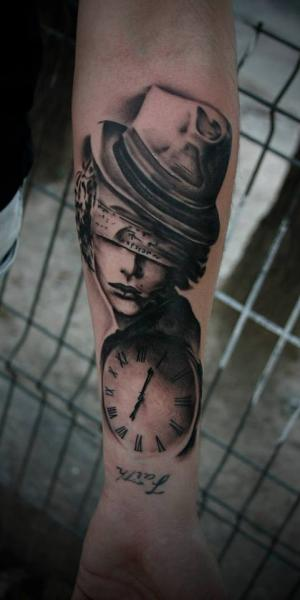Arm Clock Blind Tattoo by 2nd Face