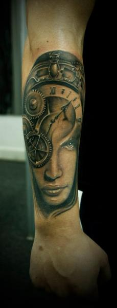 Arm Fantasy Clock Women Tattoo by 2nd Face