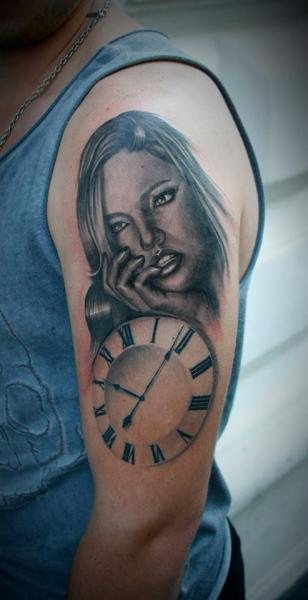 Shoulder Clock Women Tattoo by 2nd Face
