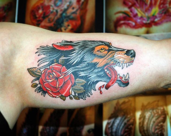 Arm Old School Flower Wolf Tattoo by Vaso Vasiko Tattoo