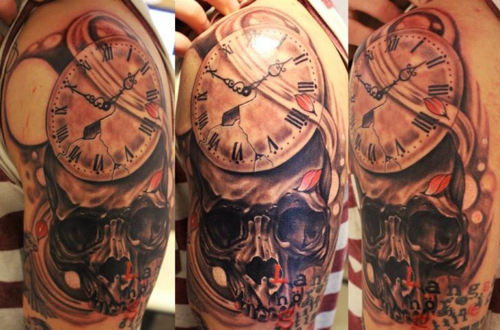 Shoulder Clock Skull Tattoo by Vaso Vasiko Tattoo