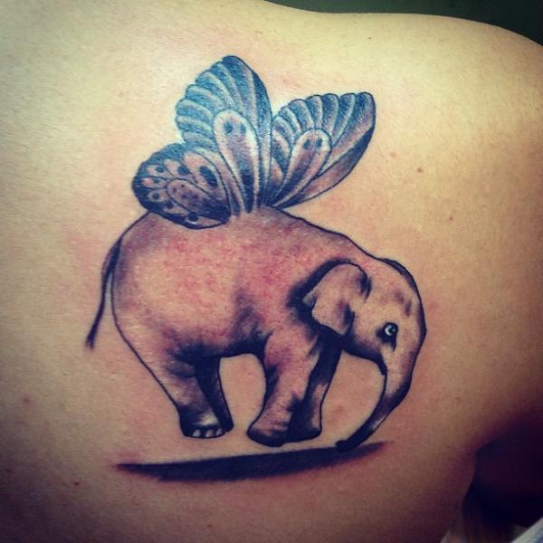 Shoulder Fantasy Elephant Tattoo by Vaso Vasiko Tattoo