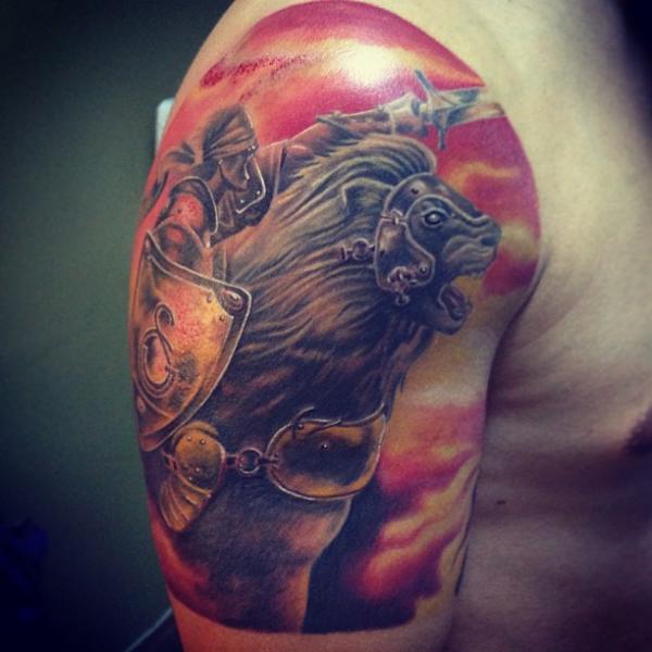 Shoulder Fantasy Warrior Tattoo by Vaso Vasiko Tattoo