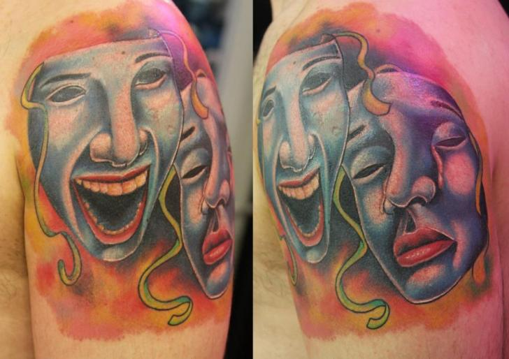 Shoulder Mask Tattoo by Vaso Vasiko Tattoo