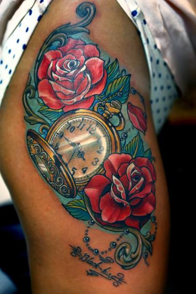 Clock Flower Thigh Tattoo by Vaso Vasiko Tattoo