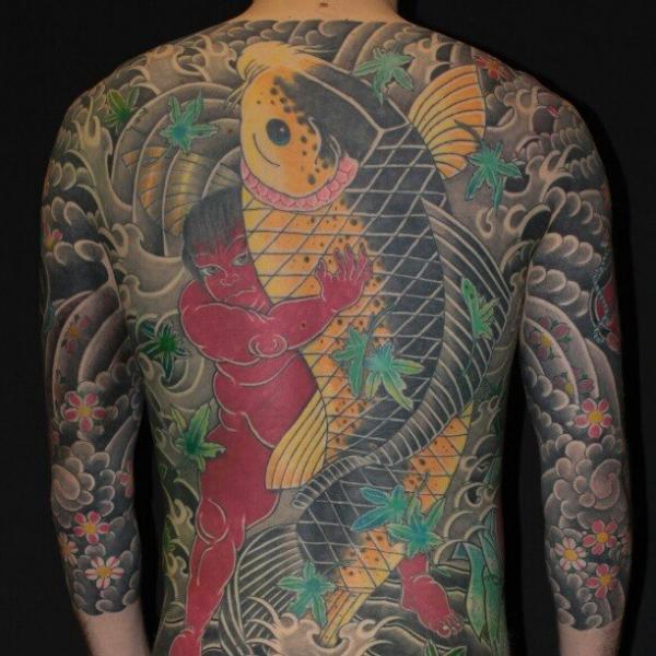 Japanese Back Carp Koi Tattoo by Elektrik Revolver