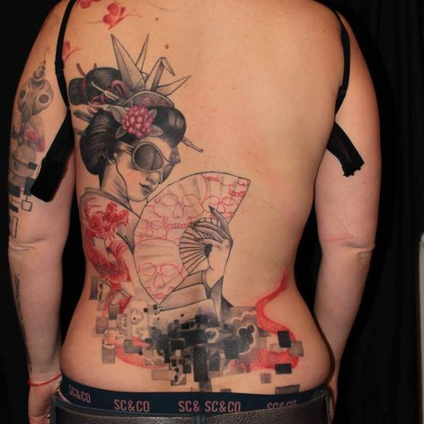 Japanese Women Back Tattoo by Elektrik Revolver