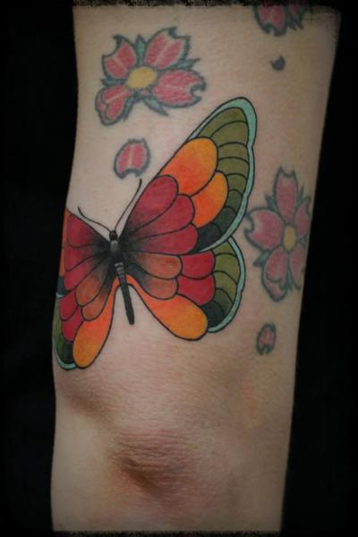 New School Leg Butterfly Tattoo by Elektrik Revolver