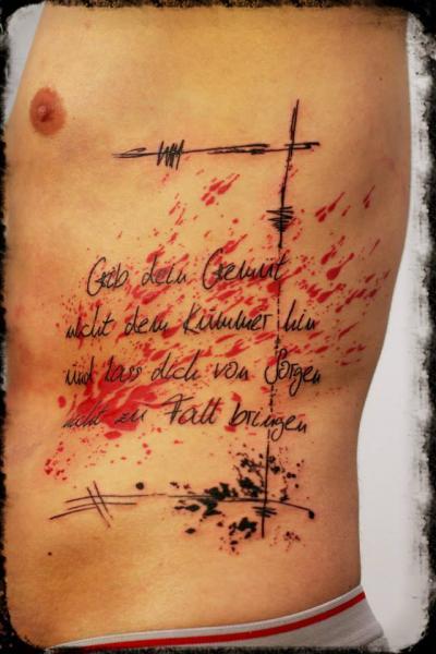 Side Lettering Tattoo by Elektrik Revolver