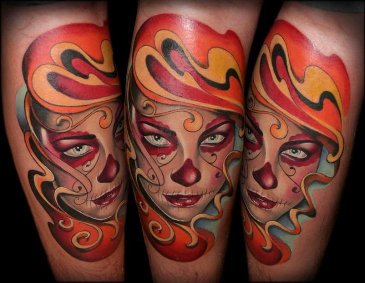 Arm Mexican Skull Tattoo by SW Tattoo