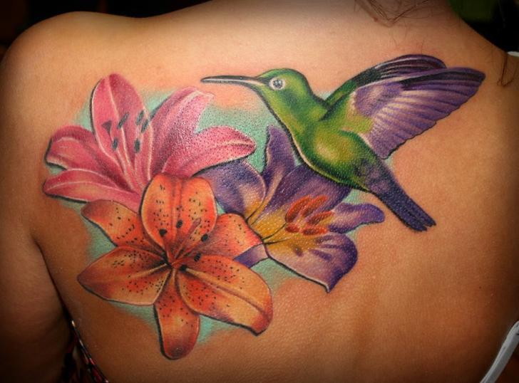 Shoulder Flower Bird Tattoo by SW Tattoo