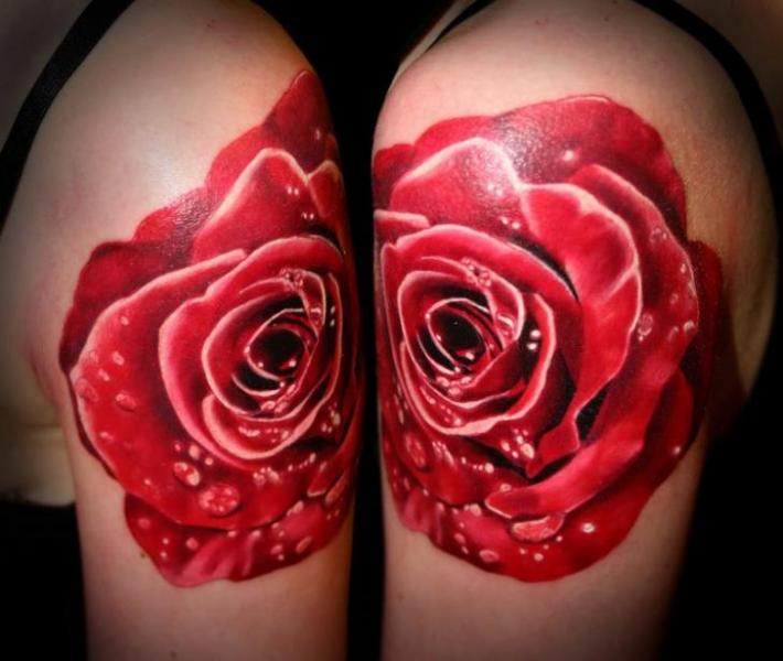 Shoulder Flower Rose Tattoo by SW Tattoo