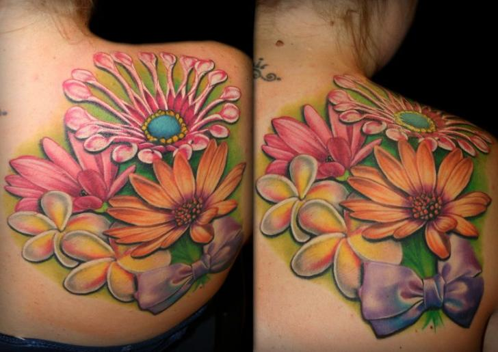 Shoulder Flower Tattoo by SW Tattoo