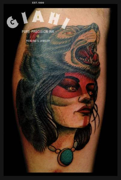 Arm Old School Women Wolf Tattoo by Jack Gallowtree