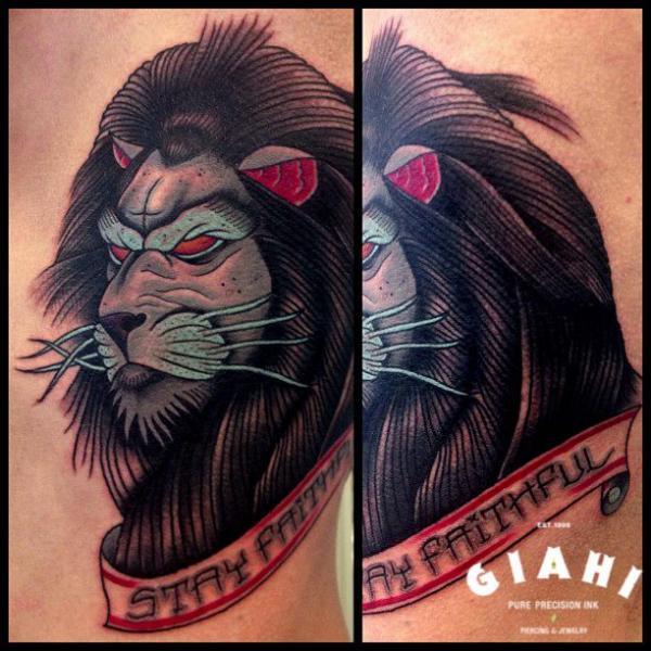 Tatuaggio Old School Leone di Jack Gallowtree