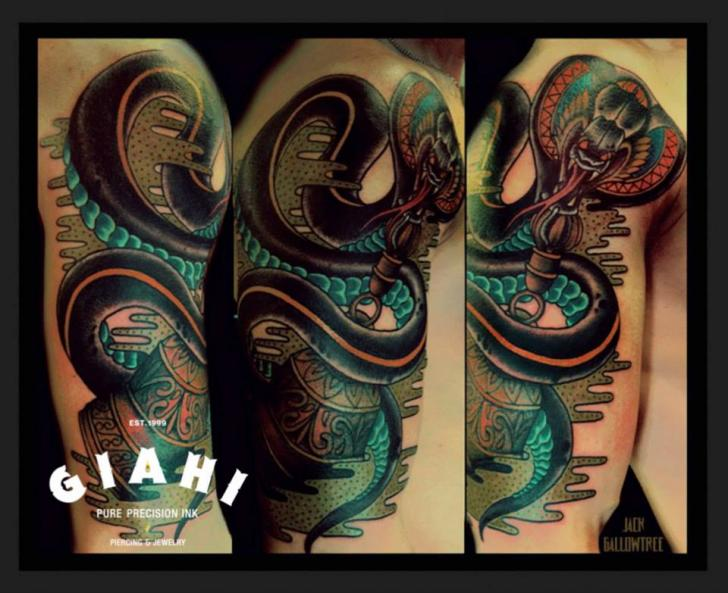 Shoulder New School Snake Tattoo by Jack Gallowtree