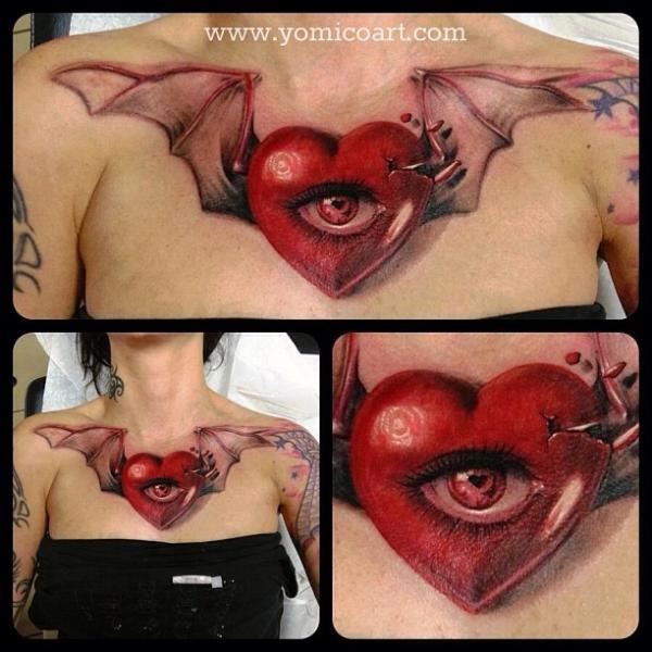 Herz Flügel Brust 3d Tattoo von Yomico Art