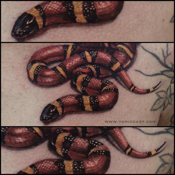 Realistic Snake 3d Tattoo by Yomico Art