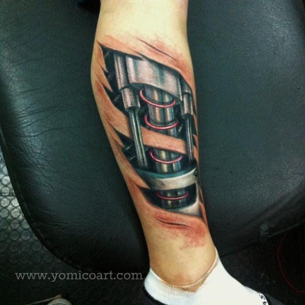 Biomechanical Leg Tattoo by Yomico Art