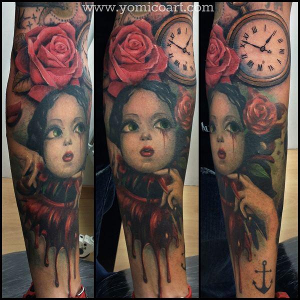 Fantasy Leg Children Tattoo by Yomico Art