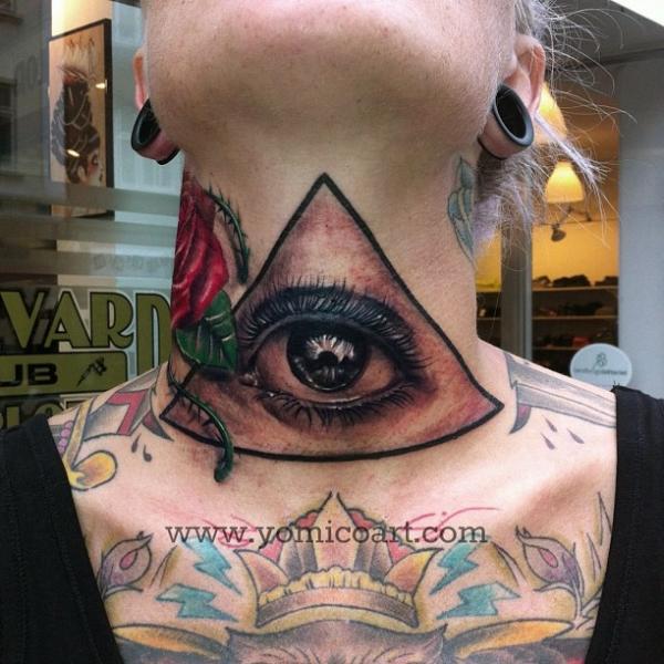 Tatuaje Cuello Barbilla Dios por Yomico Art