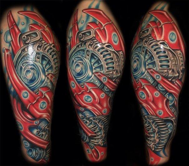 Tatuaje Hombro Biomecánica por Artistic Element Ink