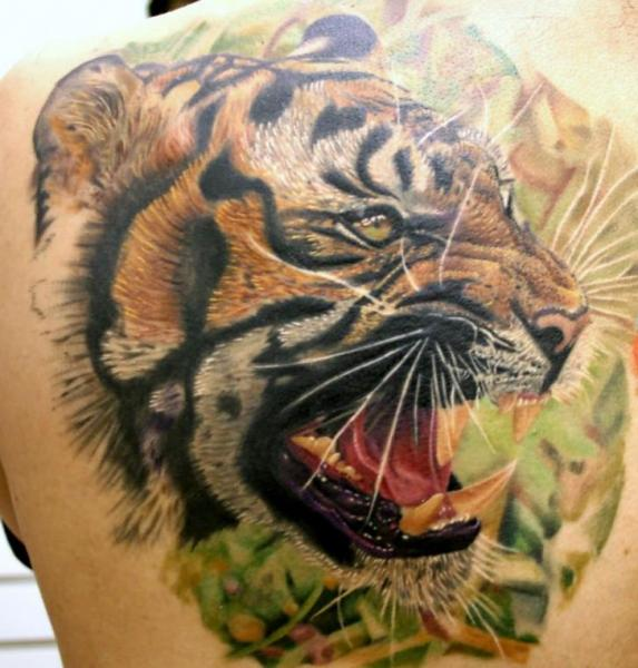 Realistic Back Tiger Tattoo by Rember Tattoos
