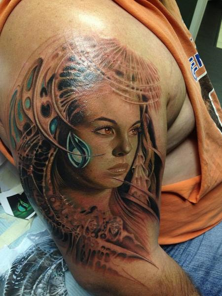 Shoulder Fantasy Portrait Tattoo by Rember Tattoos