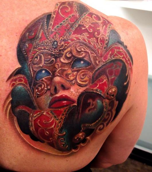 Shoulder Women Mask Tattoo by Rember Tattoos