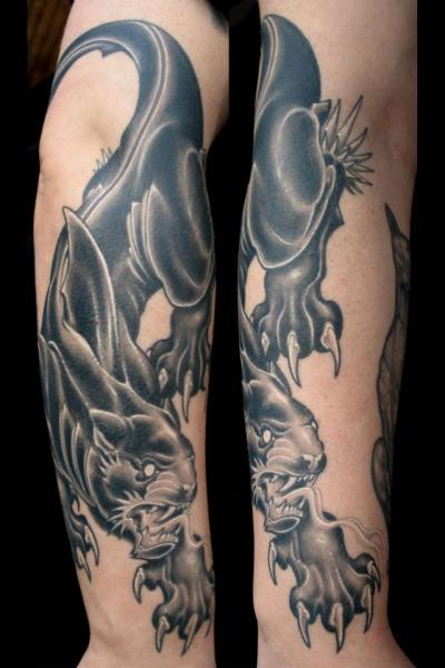 Arm Panther Tattoo by Spider Monkey Tattoos