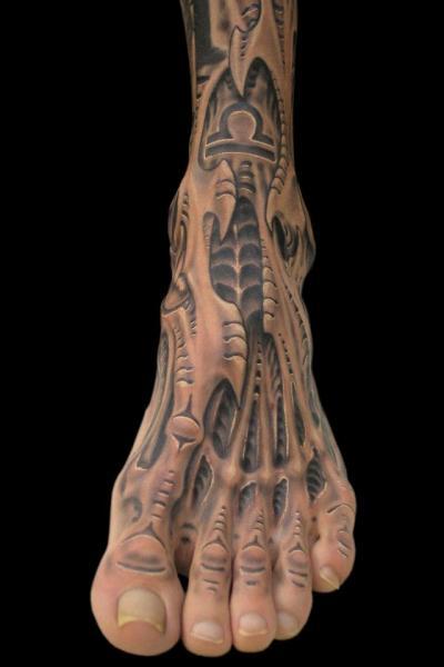 Biomechanical Foot Tattoo by Spider Monkey Tattoos