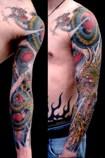 9c1150fdd Japanese Dragon Sleeve Tattoo by Spider Monkey Tattoos