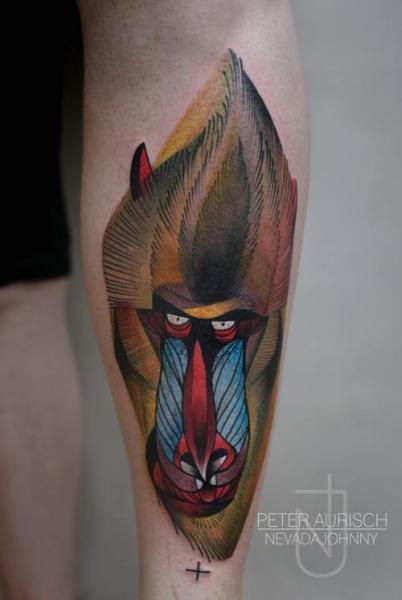 Arm Dotwork Monkey Tattoo by Peter Aurisch
