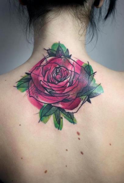 Tatuaje Flor Espalda Rosa por Peter Aurisch