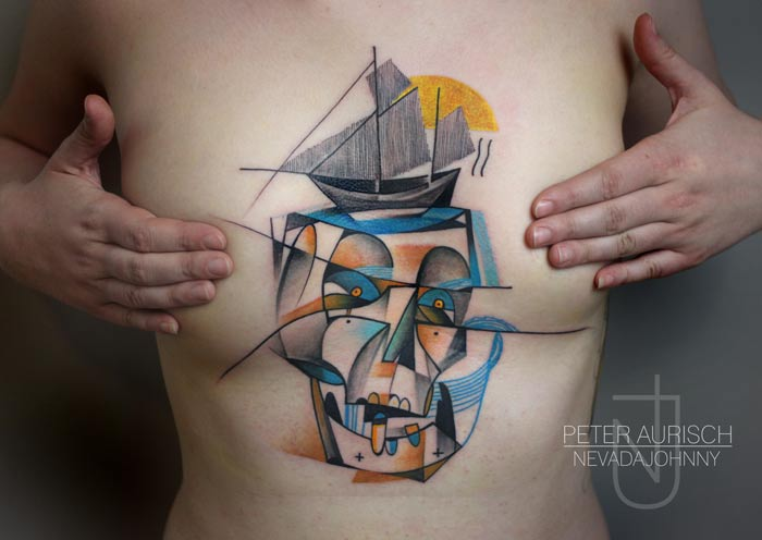 Skull Breast Abstract Tattoo by Peter Aurisch
