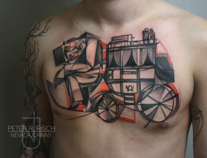 Chest Abstract Carriage Tattoo by Peter Aurisch
