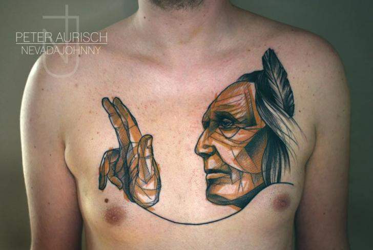 Tatuaje Pecho Indio Dibujar por Peter Aurisch