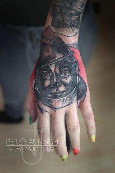 Tatuaje Fantasy Mano Robot por Peter Aurisch