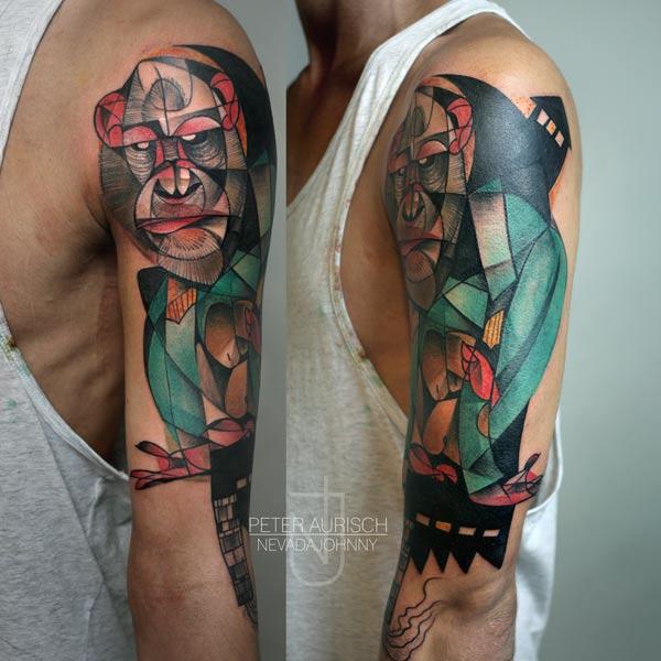 Shoulder Gorilla Abstract Tattoo by Peter Aurisch