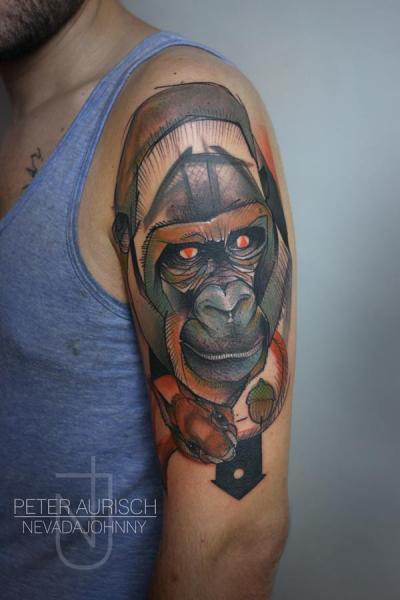 Tatuaggio Spalla Disegno Gorilla di Peter Aurisch
