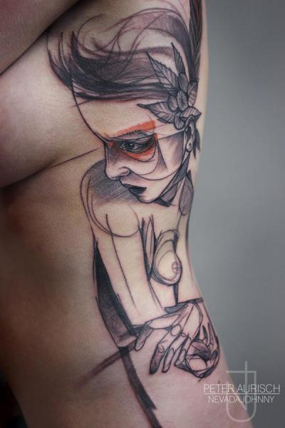 Side Women Draw Tattoo by Peter Aurisch