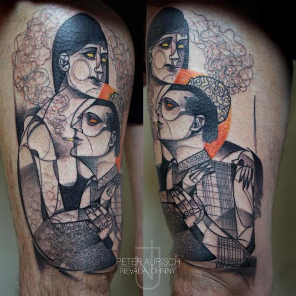 Dotwork Thigh Tattoo by Peter Aurisch