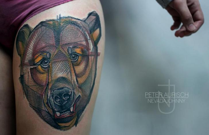 Fantasy Bear Thigh Tattoo by Peter Aurisch