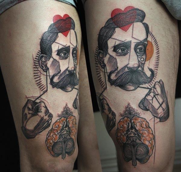 Fantasie Oberschenkel Männer Tattoo von Peter Aurisch