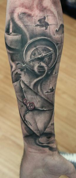Arm Realistic Compass Tattoo by Bio Art Tattoo